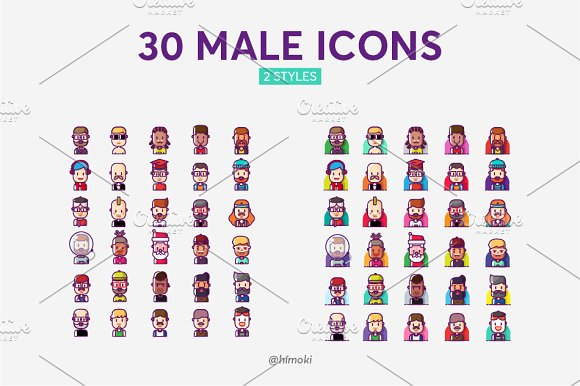 60 avatar icons-female and male in Icons - product preview 2