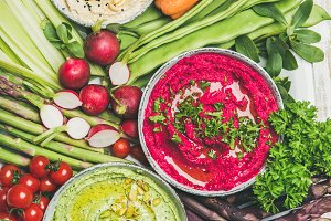 Healthy summer vegan snack plate for vegetarian party, top view