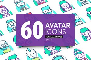 60 avatar icons Duotone-boy and girl