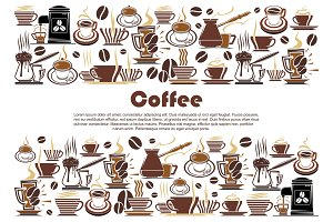 Coffee banner with hot drink and beverage border