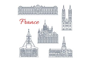 Travel landmark of France thin line icon design