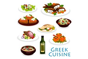 Greek cuisine dinner icon with mediterranean food
