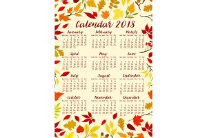 Autumn foliage of fall leaf vector calendar 2018
