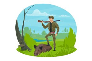 Hunter with rifle and trophy boar cartoon icon