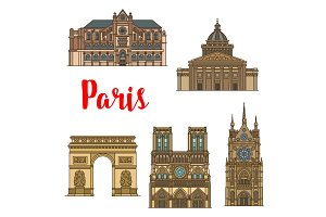 French travel landmark icon of Paris tourist sight