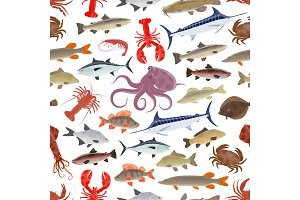 Fish and seafood seamless pattern background