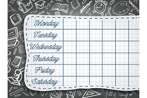 School vector weekly timetable on chalk chalkboard