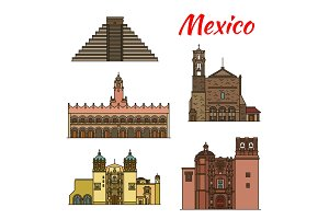 Travel landmark of Mexico and North America icon