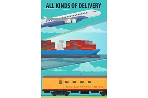 Air cargo, marine shipping, rail freight transport
