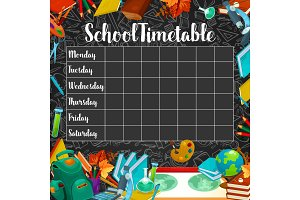 School timetable or lesson schedule on chalkboard