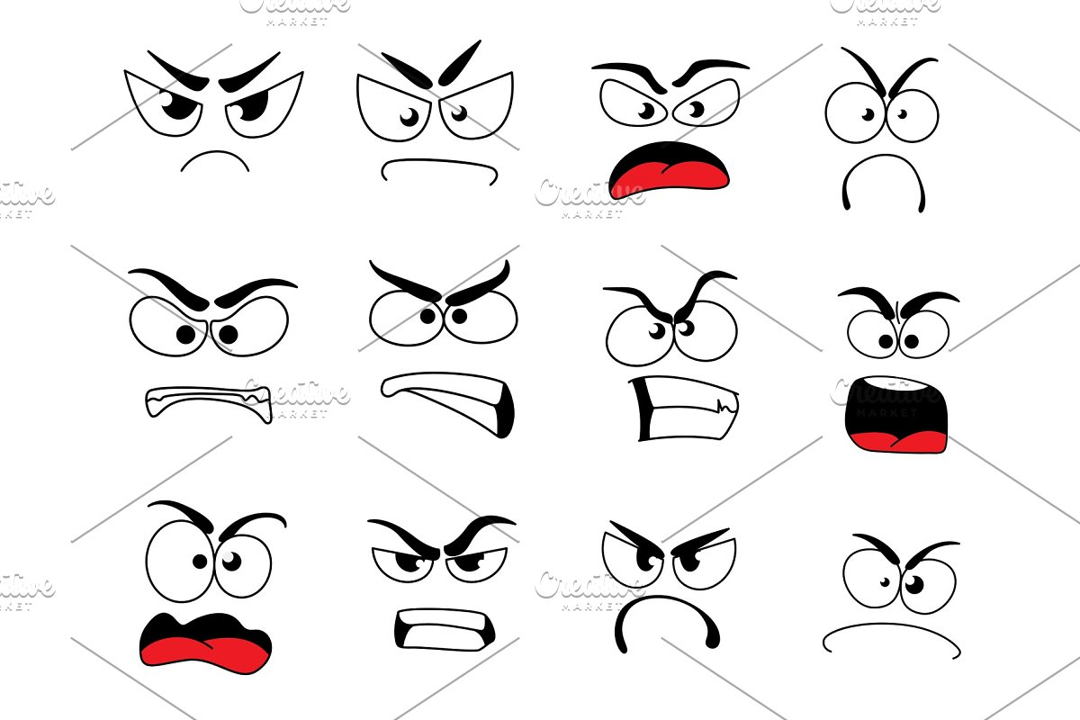 Angry Human Face Icon Of Upset Emoticon And Emoji Illustrations