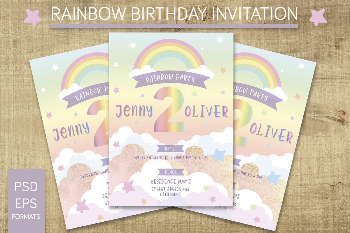 Rainbow Birthday Invitation Templates Creative Market