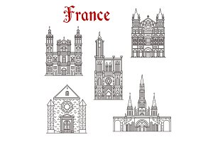 French travel landmark icon of religious building