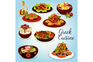 Greek cuisine icon with mediterranean lunch dish