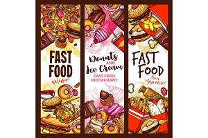 Fast food burger, drink and dessert sketch banner