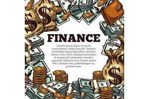 Finance business poster with money sketch frame