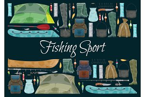 Fishing sport banner with fisher equipment border
