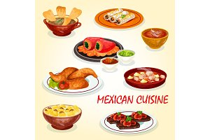 Mexican cuisine icon of dinner dish with hot sauce
