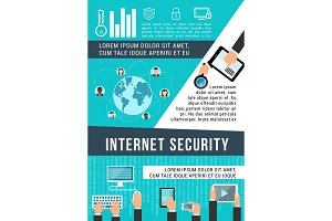Internet security banner of data protection design