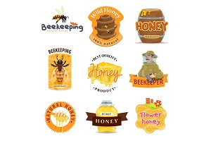 Honey natural food icon of beekeeping farm product