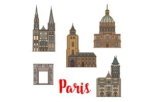 Paris travel landmark icon of French architecture