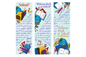 Back to school discount banner for sale design