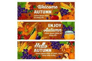 Autumn vector fall harvest and leaves banners