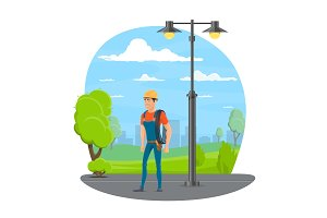 Lineman icon for electrician profession design