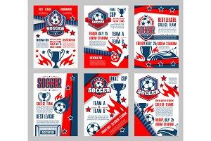 Soccer sport club poster for football match design