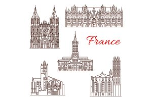 French travel landmark icon of architecture sights