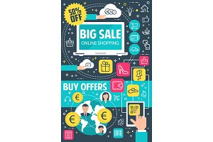 Sale offer flat banner for online shopping concept
