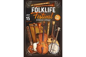 Folk music festival poster with musical instrument