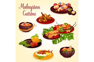 Malaysian food icon with indonesian cuisine dish