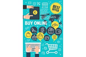 Buy online poster for internet shopping concept