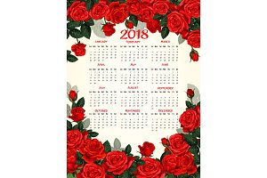Year calendar template with red rose flower frame