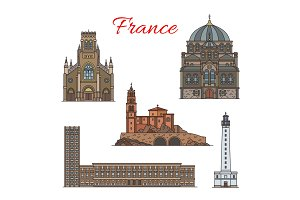 French architecture travel landmark thin line icon