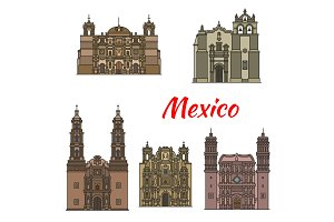 Travel landmark of mexican tousrist sights icon