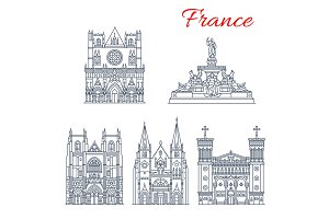 French travel landmark icon of European Churches