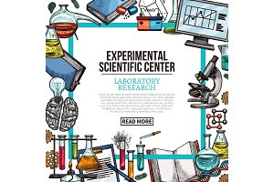 Scientific center poster with laboratory equipment