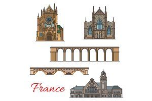 Travel landmark of France icon of old architecture