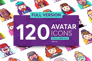 120 avatar icons-Full version