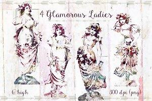 4 Vintage Ladies Silhouettes