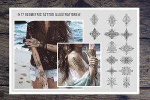 Set of Geometric tattoo designs