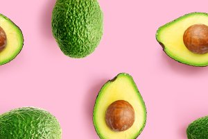 Avocado on pink