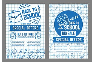 Back to School vector sale special offer posters