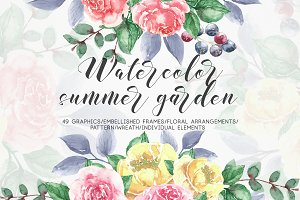 Watercolor summer garden
