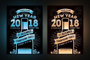 New Year Champagne Party Flyer
