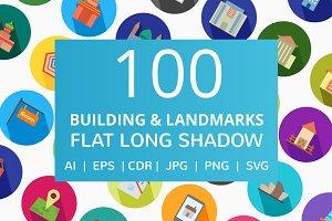 100 Building & Landmarks Flat Icons