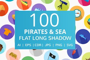 100 Pirate & Sea Flat Icons