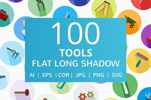 100 Tools Flat Long Shadow Icons
